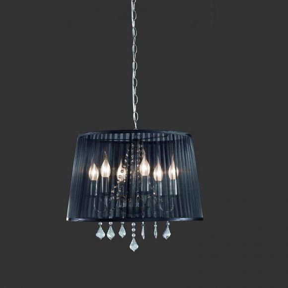 Extravagante Pendelleuchte mit schwarzem Organzastoff und Acrylbehang inklusive 2x 28W Halogenkerze 3er Pack