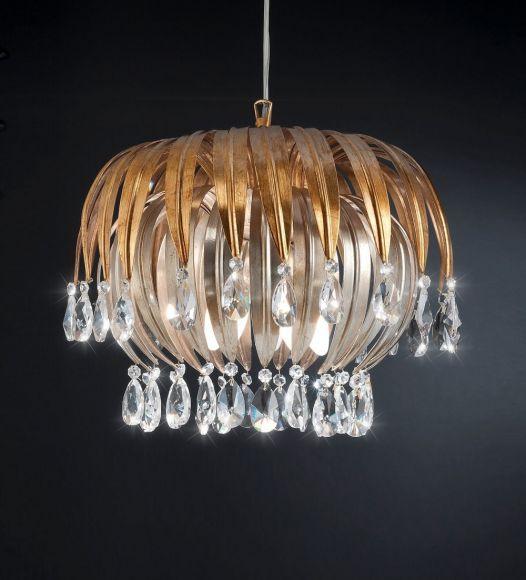 Extravagante Pendelleuchte - Blattgold und -silber - Kristallglasbehang - Für Leuchtmittel 5 x E14  40 Watt