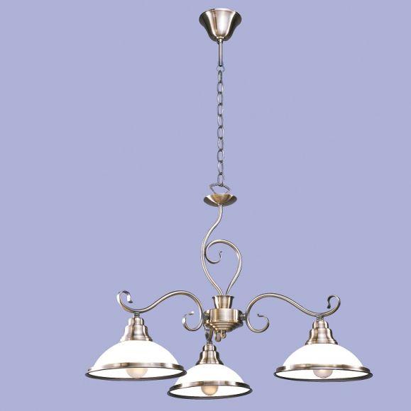 3 flammige pendelleuchte metall in bronze mit wei em. Black Bedroom Furniture Sets. Home Design Ideas