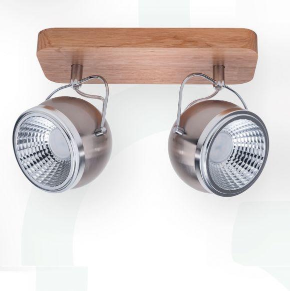 Moderner LED Strahler Ball Wood Nickel - matt  Eiche geölt