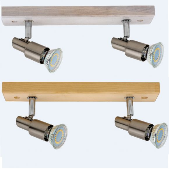 4 flammiger LED Strahler Classic Wood in Eiche