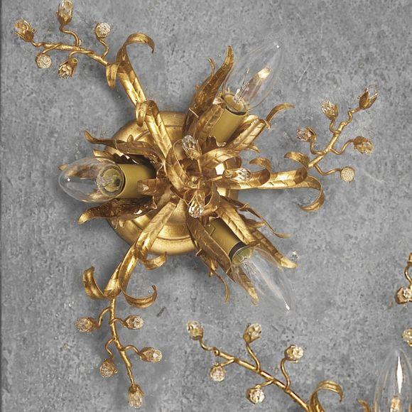 Florentiner Deckenleuchte - Handgefertigt in Italien - Eisen - Blattgold - Kristallrispen - 3-flammig - Durchmesser 34 cm 3x 40 Watt, 10,00 cm, 34,00 cm