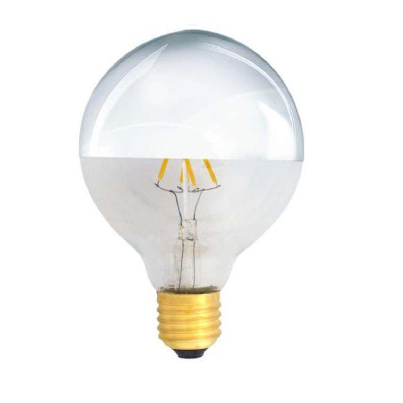 G95 4W LED Filament Kopfverspiegelt Silber