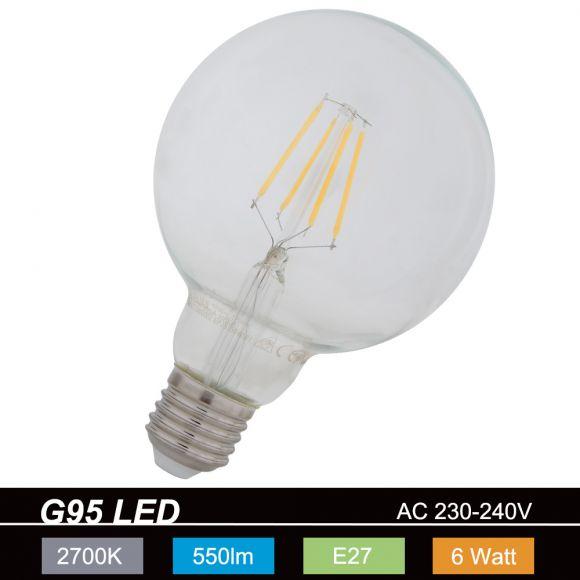 G95  LED Globe 6W transp. E27 2700K  230V 550 Lumen