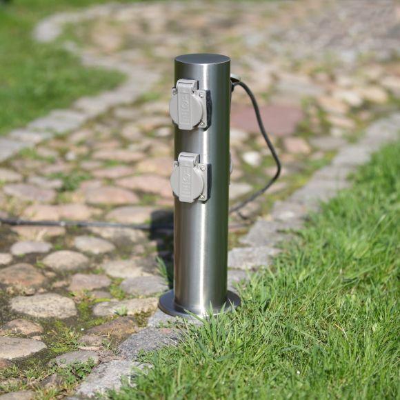 Garten Steckdosensäule mit 4 Steckdosen mit Klappdeckel für Außen , Stromverteiler, Energiesäule