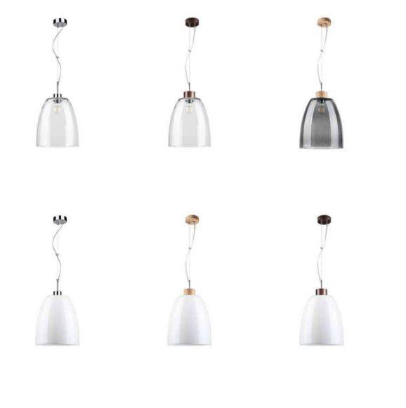 Glas Pendelleuchte Campana verschiedene Ausführungen mit Holz oder Metall