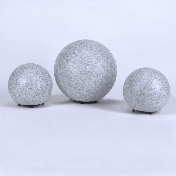 Granitoptik 3er-Set Kugelleuchten 2x 20 und 30 cm Ø, inkl. 6W LED