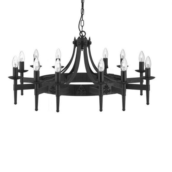 Großer Kronleuchter Cartwheel in matt Schwarz 12-flammig