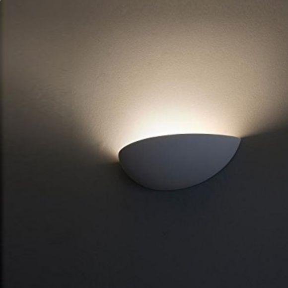 Halbrunde Wandleuchte, Gipswandleuchte, D 36cm, Lichtaustritt oben