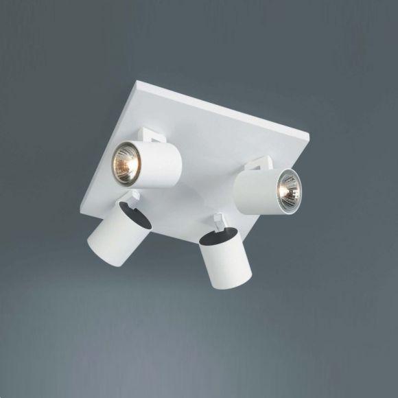 Halogen-4er-Spotquadrat  weiß, inklusive 4x 50Watt GU10 Leuchtmittel