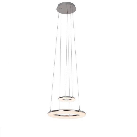 Höhenverstellbare LED-Pendelleuchte Ø 43cm - Metall - Chrom und Kunststoff, 1x 33,6Watt, 3000K warmweiß