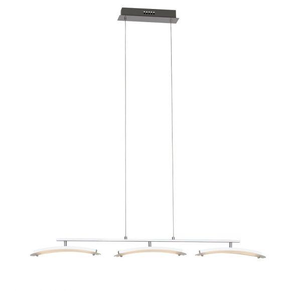 Höhenverstellbare LED-Pendelleuchte aus Metall - Chrom - mit schwenkbaren Glaselementen, 3 x 6 Watt, 3000K warmweiß