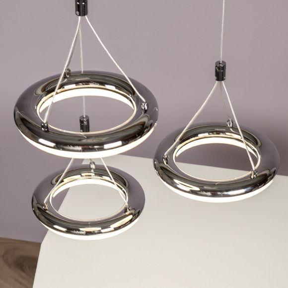 Höhenverstellbare LED-Pendelleuchte, 3 Ringe Chrom