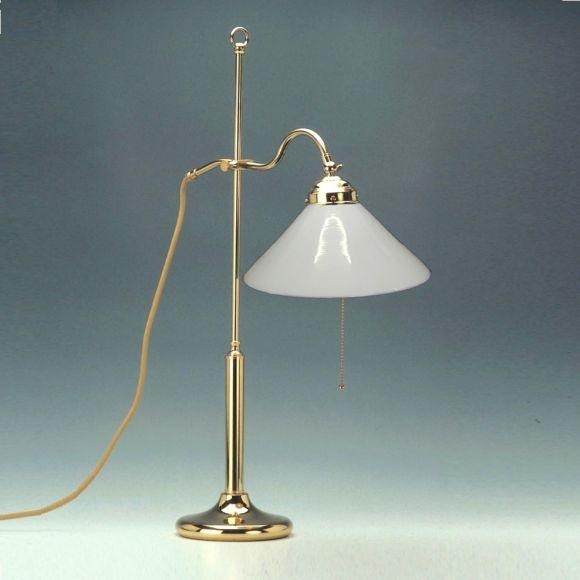 Höhenverstellbare Tischleuchte Messing-poliert, Opalglas