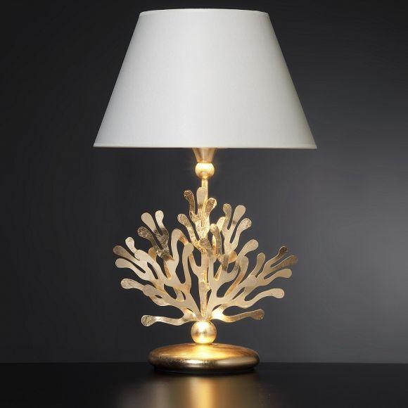 Hochwertige Tischleuchte in Blattgold  - Stofflampenschirm in Weiß