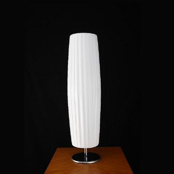 Hockerleuchte Tischleuchte mit weißem Plissee bezogen, H = 58 cm