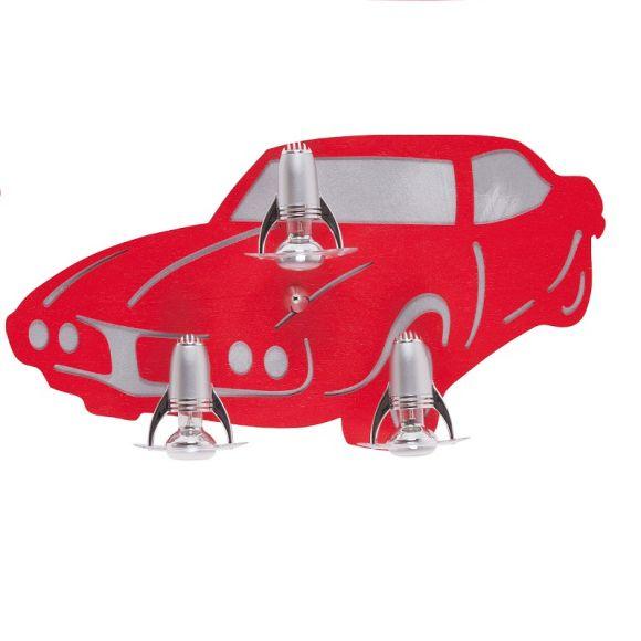Kinder Wandleuchte Auto 3-flammig - Rot oder Blau