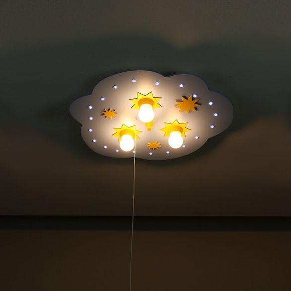Kinderdeckenleuchte Wolke klein hellblau / gelb, LED- Sternenhimmel