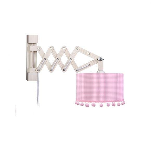 Kinderwandleuchte mit Schirm in rosa/weiß