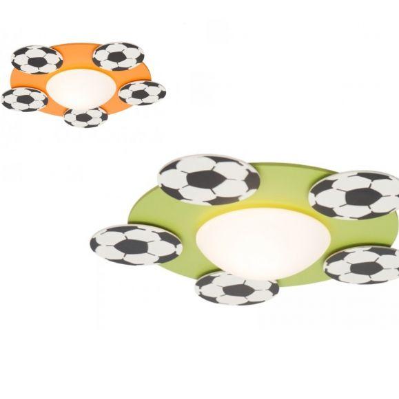 Kinderzimmerleuchte für die Decke mit Fußbällen, wählbar in grün oder orange