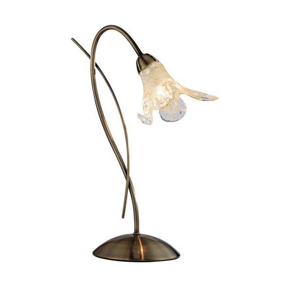 Klassische Tischleuchte Lily in Messing Antik mit floralen Gläsern