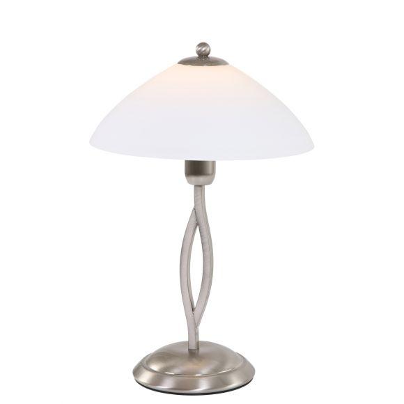 Klassische Tischleuchte mit Schirm aus opalweißem Glas, mit Schnurschalter, silber, E27