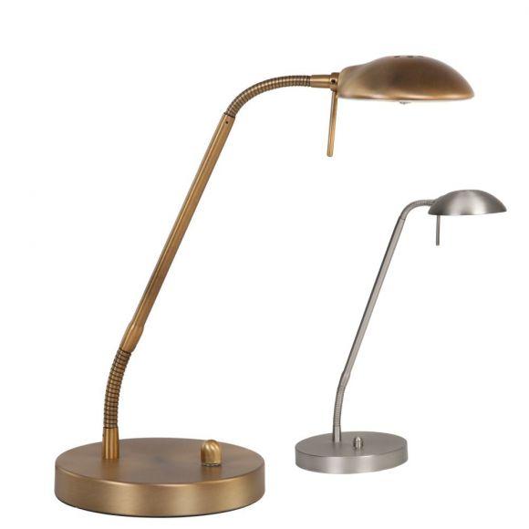 Klassische Tischleuchte mit schwenkbarem Kopf, dimmbar per Drehdimmer, bronze, inkl. LED 6W