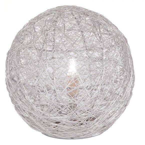 Kleine kugelige Tischleuchte - 1-flammig - Aluminiumdrahtgeflecht - stahlfarbig