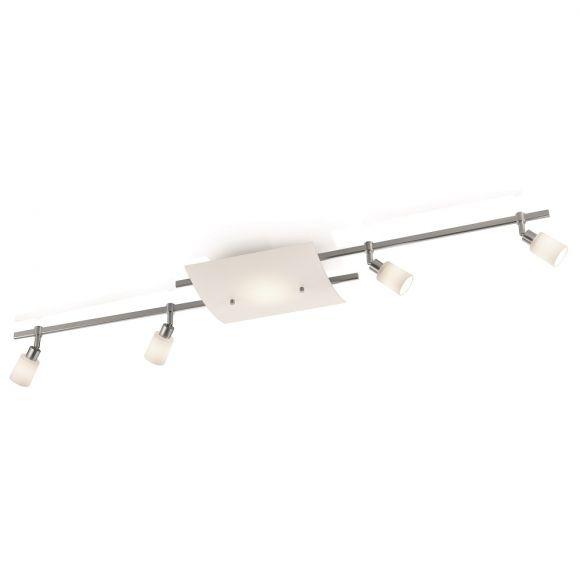 Knapstein LED-Deckenleuchte, Innenlicht mit 4x Strahler, Nickel matt stahlfarbig, Nickel-matt