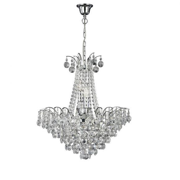 Kristall Pendelleuchte Limoges aus Chrom 6-flammig