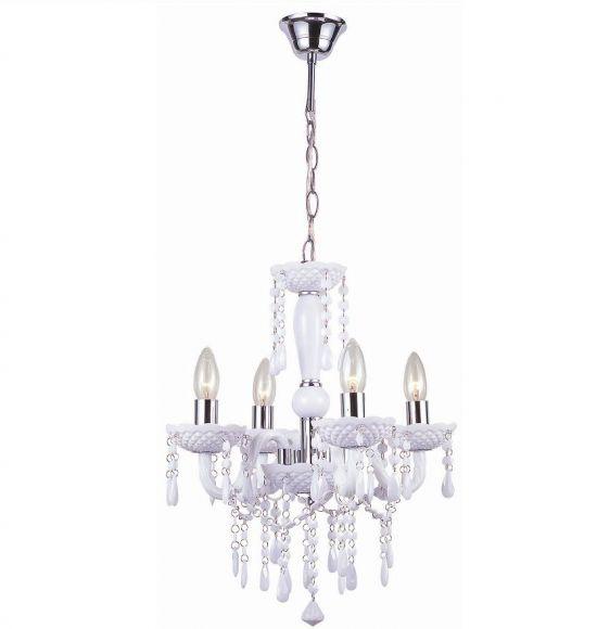 Krone aus Acrylglas, Durchmesser 42cm, Weiß - inklusive Leuchtmittel E14 40Watt