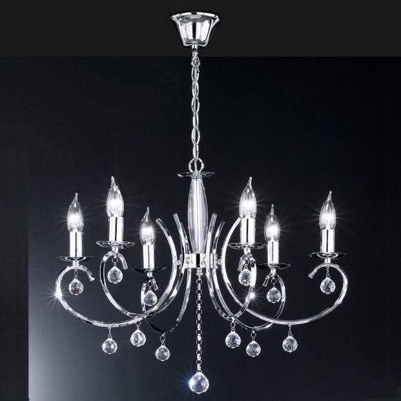 Kronleuchter Chrom glänzend, Glasbehang Prismen klar, 6-flammig E14 Fassung, dekorativ