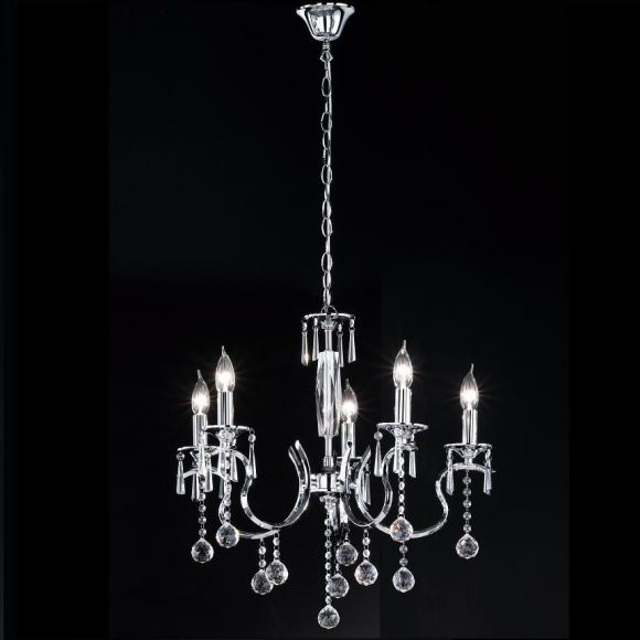 Kronleuchter  Diamant, klare Glasprismen , 60 cm, 5 flammig