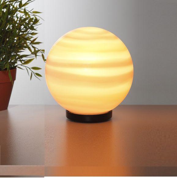 Kugelleuchte Ø 20 cm zur Direktmontage mit quer gestreiftem Leuchtmittel