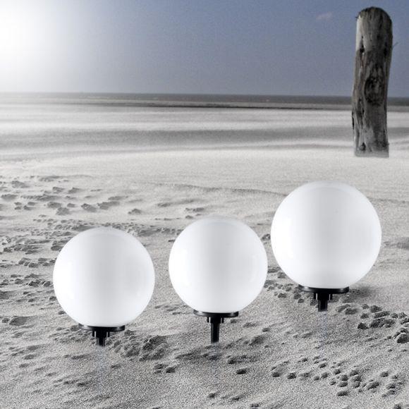 Kugelleuchten 3er Set, 2 x 25 und 1x 40cm Ø, mit Erdspieß und LED