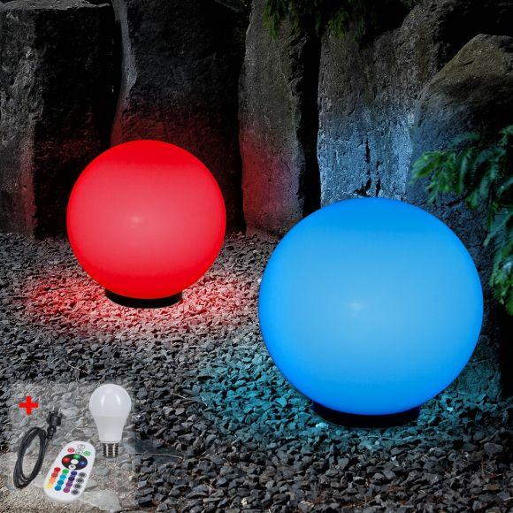 LHG Kugelleuchten, 2er-Set, D 50cm und 60cm, Außenleuchte, RGB-LED