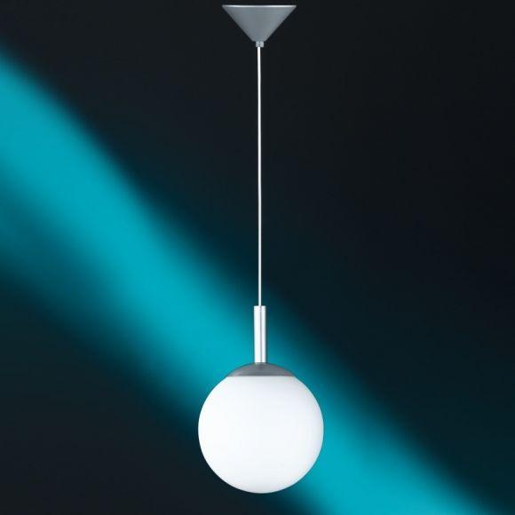 Moderne Kugel-Pendelleuchte, Opalglas 4 Größen