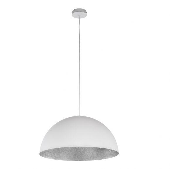 Kuppel-Pendelleuchte Tuba  -  Ø 35cm -Weiß/Silber weiß-silber