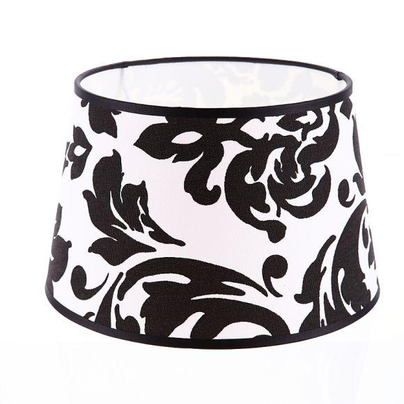 lampenschirm aus stoff in wei mit barockdekor in schwarz rund 25cm aufnahme e27 unten wohnlicht. Black Bedroom Furniture Sets. Home Design Ideas