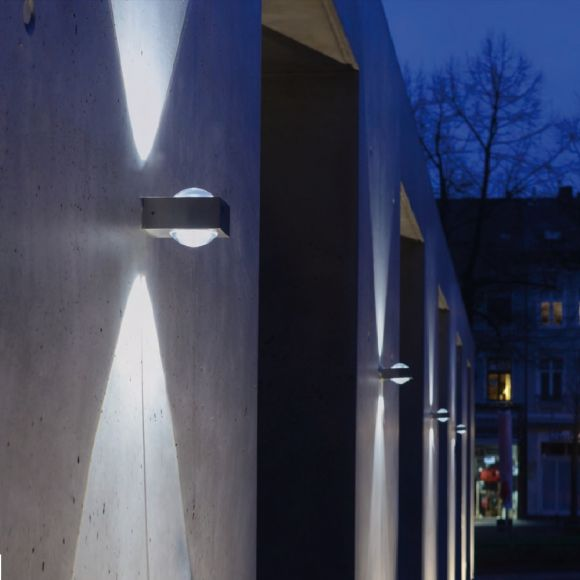 LED Up & DownAußenwandleuchte, Edelstahl eckig, inkl. LED 10Watt, IP44