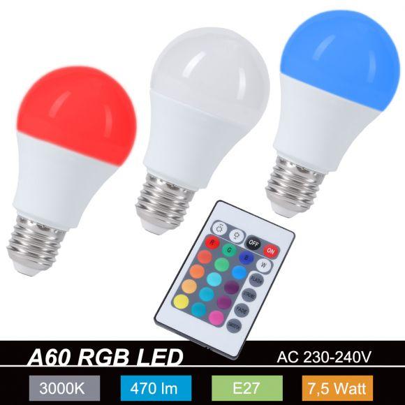 LED 3er Set RGB Leuchtmittel E27 je 7,5 Watt