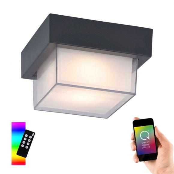 LED Außendeckenleuchte, Q®, Smart Home, ZigBee, weiß o. anthrazit