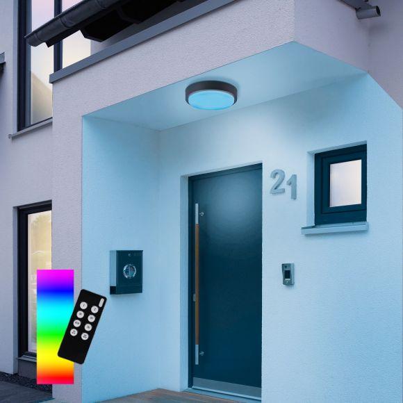 LED Außendeckenleuchte, Smart Home, Fernbedienung, weiß o. anthrazit
