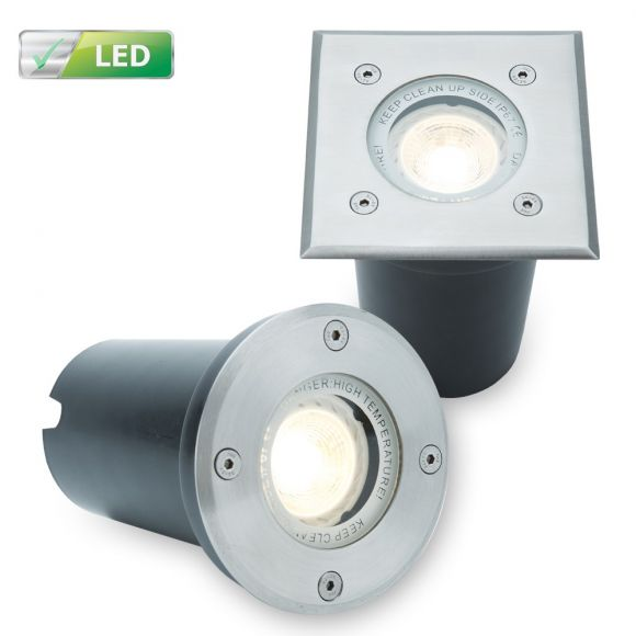 LED Bodeneinbaustrahler, Aluminium, 16cm Einbautiefe, rund o. eckig