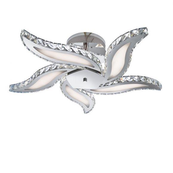 LED Deckenleuchte aus Chrom - Mit Kristallschmuck - Acrylglasabdeckung