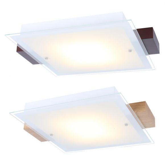LED Deckenleuchte aus Holz und Glas - Eiche oder Wenge