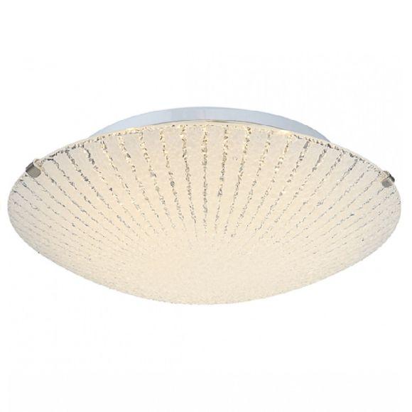 LED Deckenleuchte chrom, Dekorlinien geeist, inkl. 1xLED 8W 32V, 600lm, 3500K, Dekorglas - rund + Taschenlampe LED