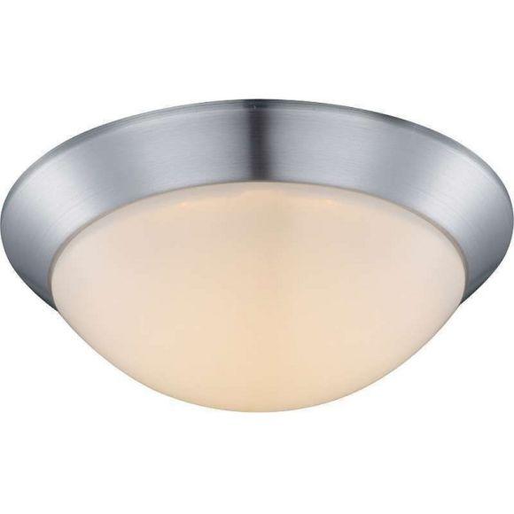 LED Deckenleuchte rund - Ø 26cm - Nickel matt, Opalglas satiniert, inklusive 1x12Watt LED, 3000°K, 960lm - inklusive LED-Taschenlampe