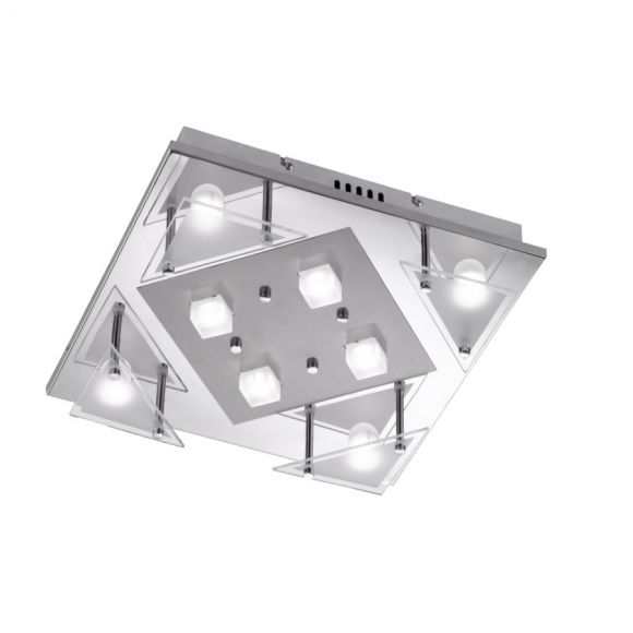 LED Deckenleuchte, chrom, quadratisch, 8-flammig, 34x34cm, modern