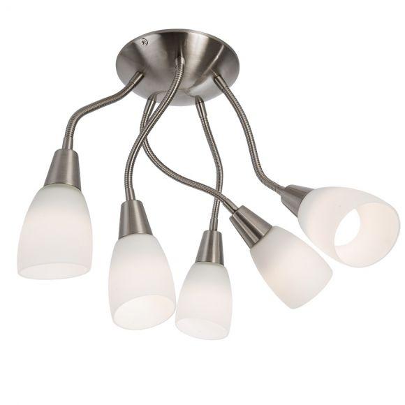 LED Deckenleuchte - Nickel matt - Opalglas - Mit Flexarmen - 3- oder 5-flammig - Inklusive LED jeweils 3 Watt  300 Lumen